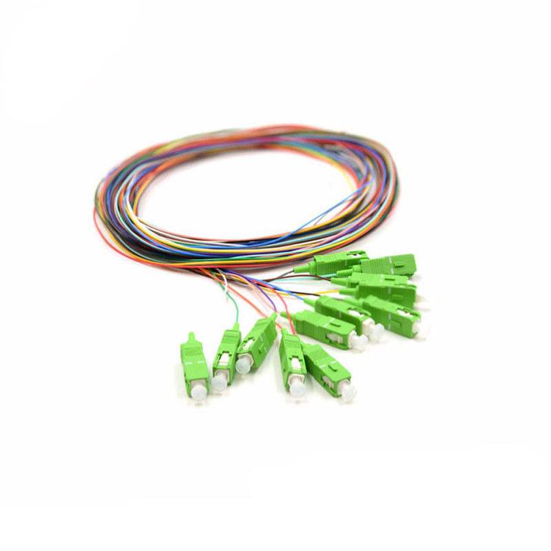 SC / APC Fiber Optic Pigtail , 2 M Fiber Jumper Cables 12 Colors Opitional