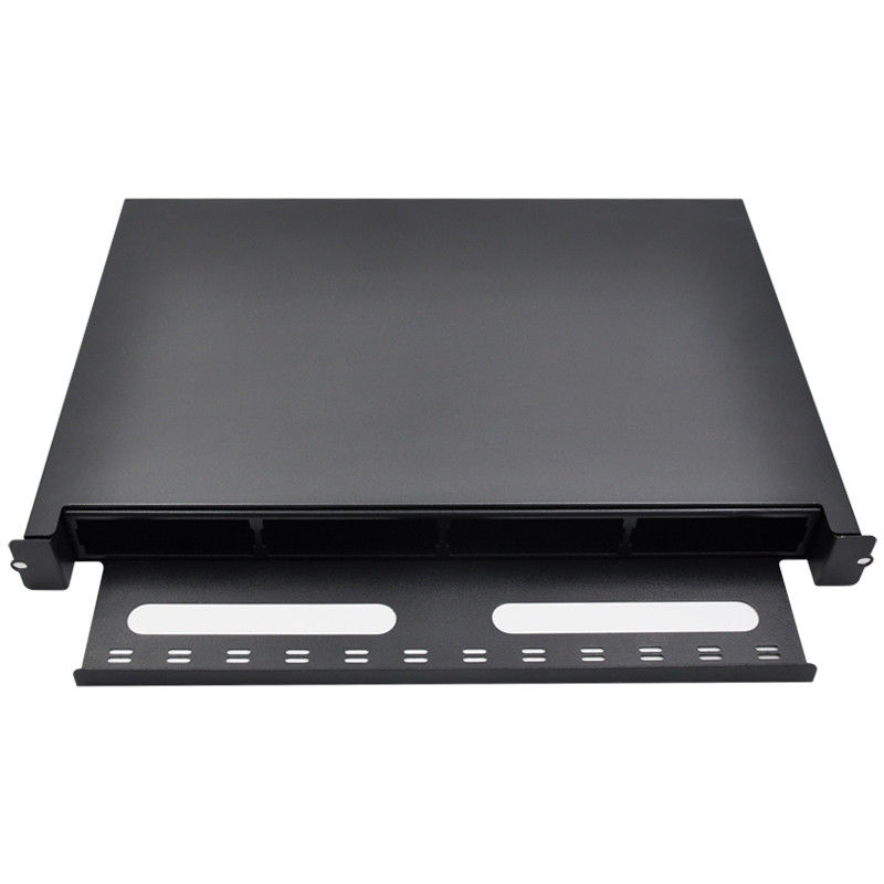 1U 19 Inch Fiber Optic Distribution Box Rack Mount Cold Rolled Steel 1.2T Material Thick