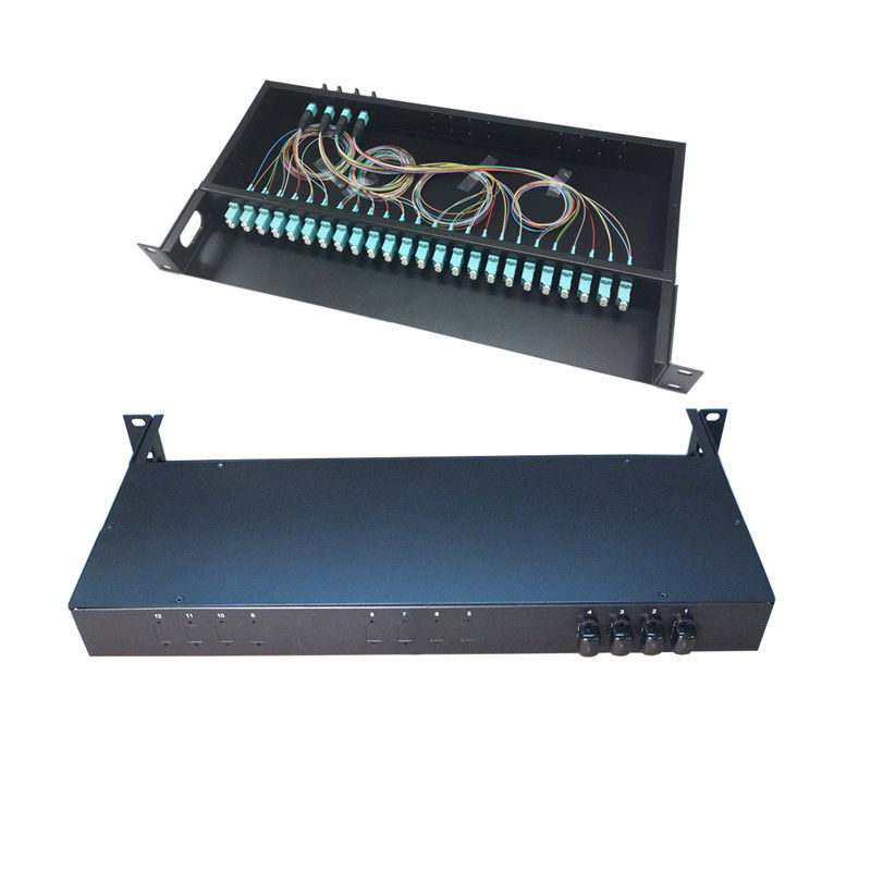 1U 19 Inch Fiber Optic Termination Panel 48 Core MPO/MTP Rack Mounting For FTTH